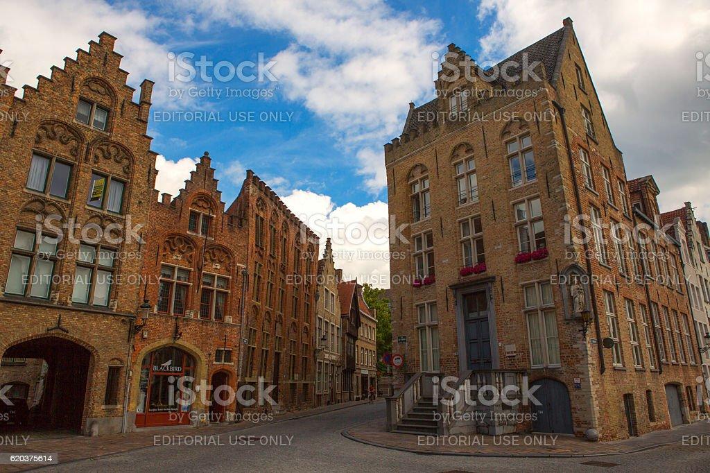 Historical gothic buildings at brugge belgium zbiór zdjęć royalty-free