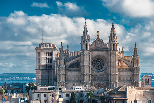 historical gothic church la seu, cathedral of santa maria - rose window stock pictures, royalty-free photos & images