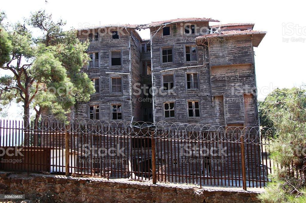 Historical Greek Orphanage in Buyukada Turkey stock photo