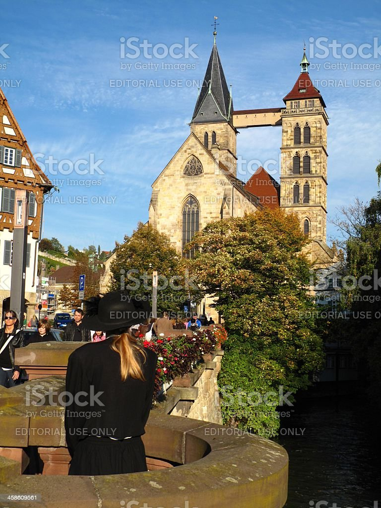 Historical guided city tour in Esslingen/Germany stock photo