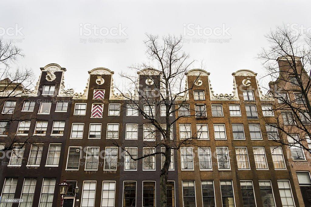 과거 주택 따라 암스텔담 채널, the Netherlands royalty-free 스톡 사진