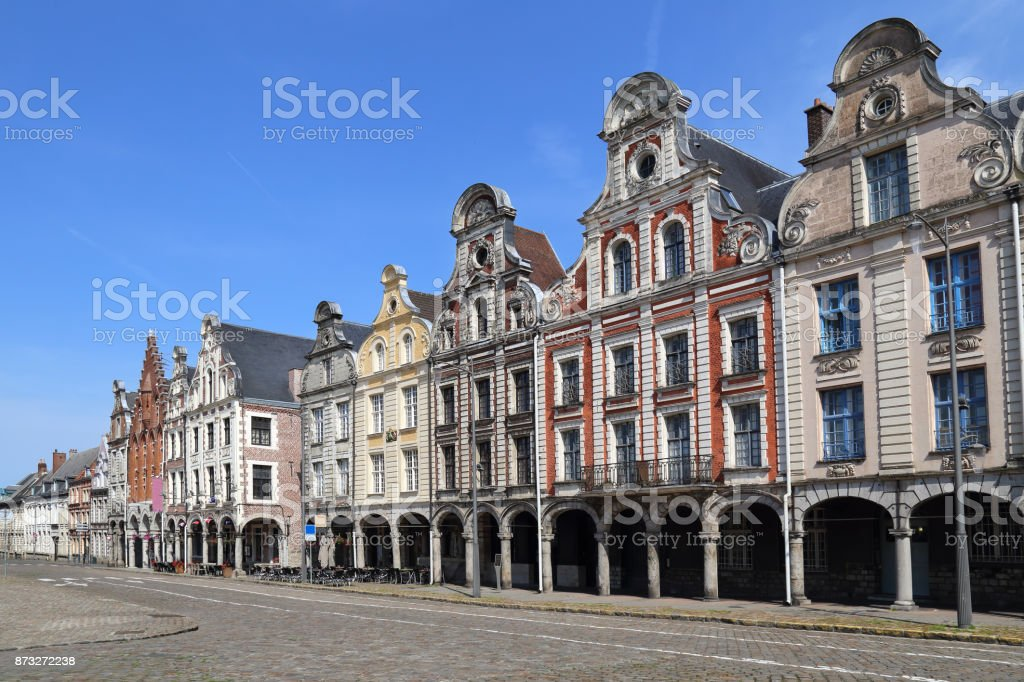 Historical houses on Grand Place in Arras, France stock photo