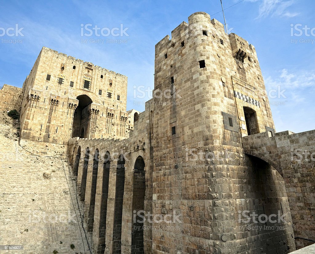 Historical image of the Aleppo building in Syria stock photo