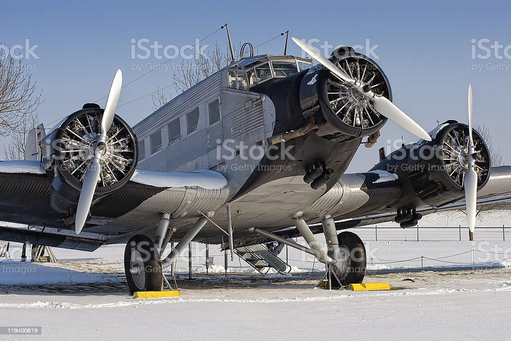 Historical JU 52 aircraft stock photo