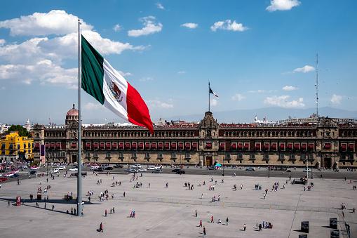 Historical Landmark National Palace Building at Plaza de la Constitucion in Mexico City, Mexico