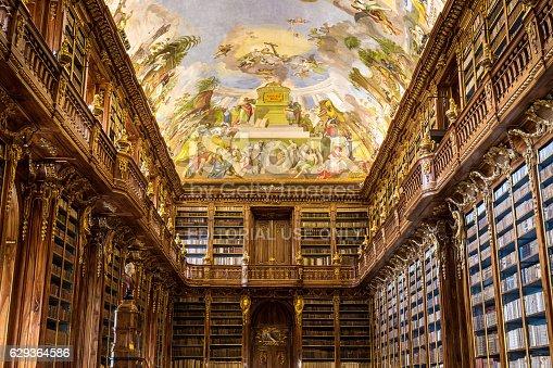 istock Historical library of Strahov Monastery in Prague, Philosophical Hall 629364586