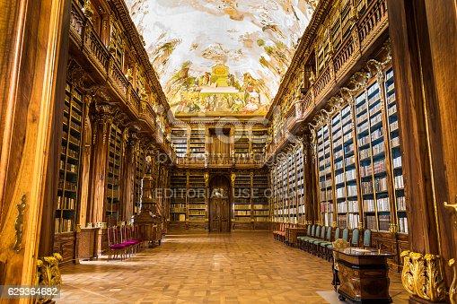 istock Historical library of Strahov Monastery in Prague, Philosophical Hall 629364682