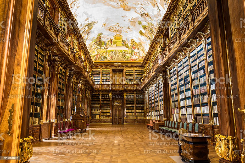 Historical library of Strahov Monastery in Prague, Philosophical Hall ストックフォト