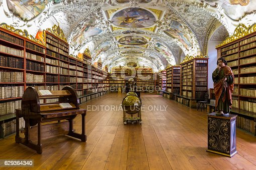 istock Historical library of Strahov Monastery in Prague, Theological Hall 629364340