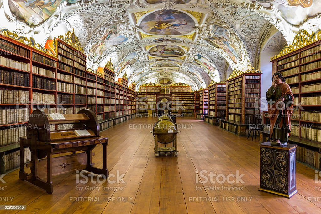 Historical library of Strahov Monastery in Prague, Theological Hall - foto de stock