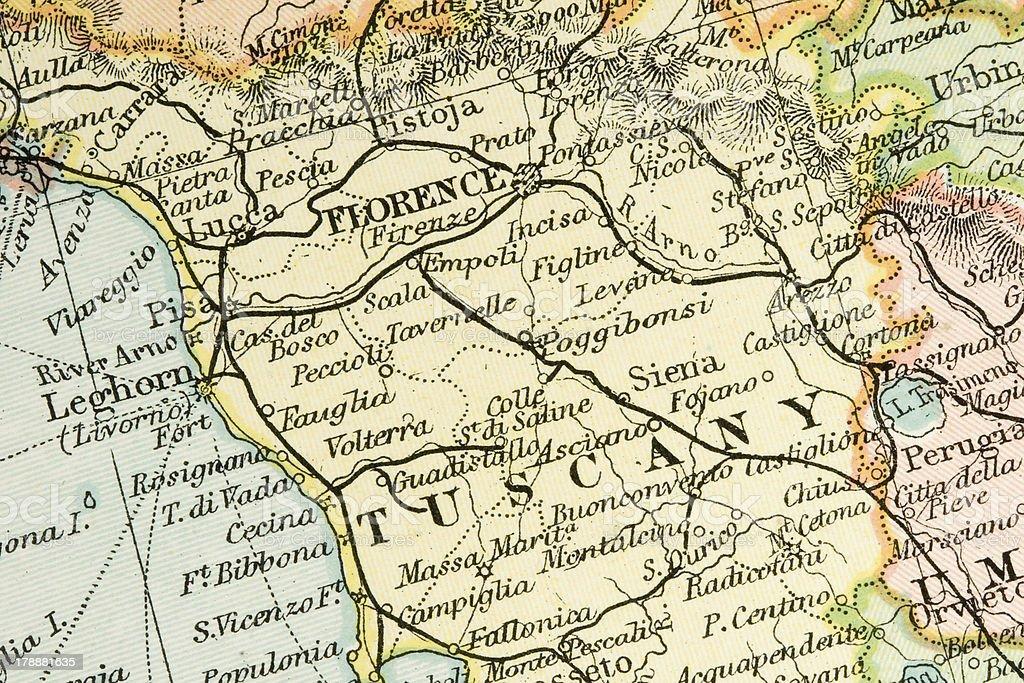 Historical Map Showing Tuscany Region Of Italy Stock Photo