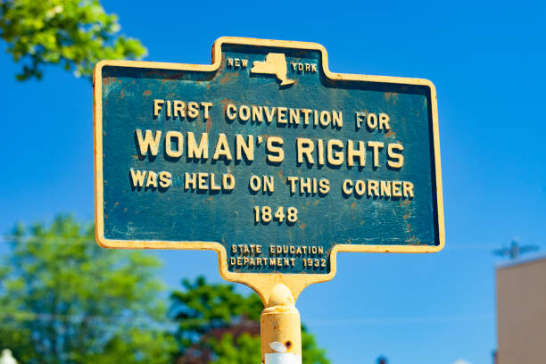 Historical Marker For The First Women's Rights Convention Held In Seneca Falls, New York stock photo