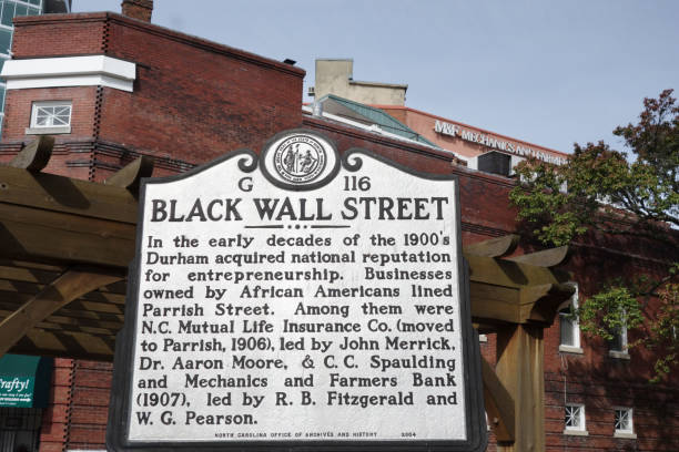 Historical marker in downtown Durham NC describing the history of African American businesses in the city stock photo