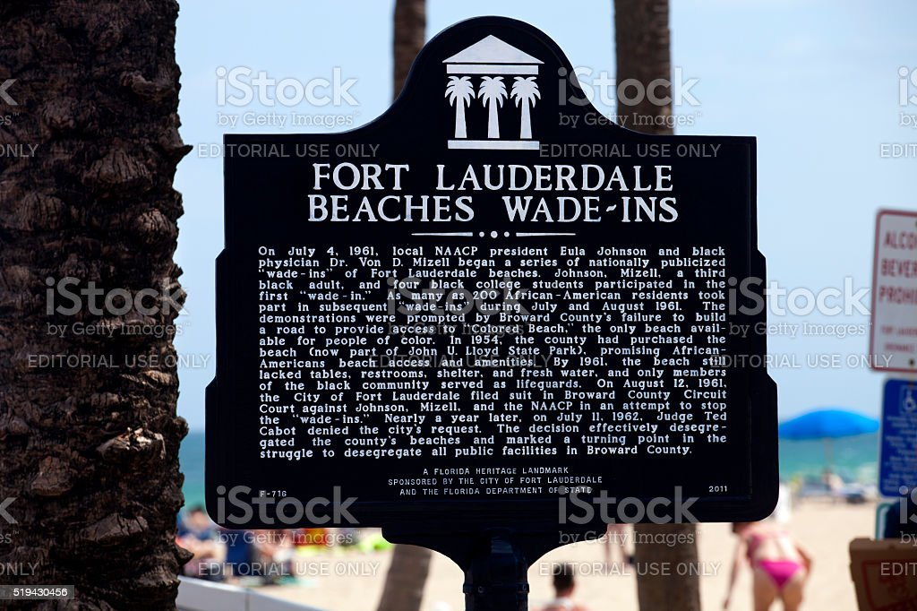 Historical Marker 'wade-ins' Fort Lauderdale Florida stock photo