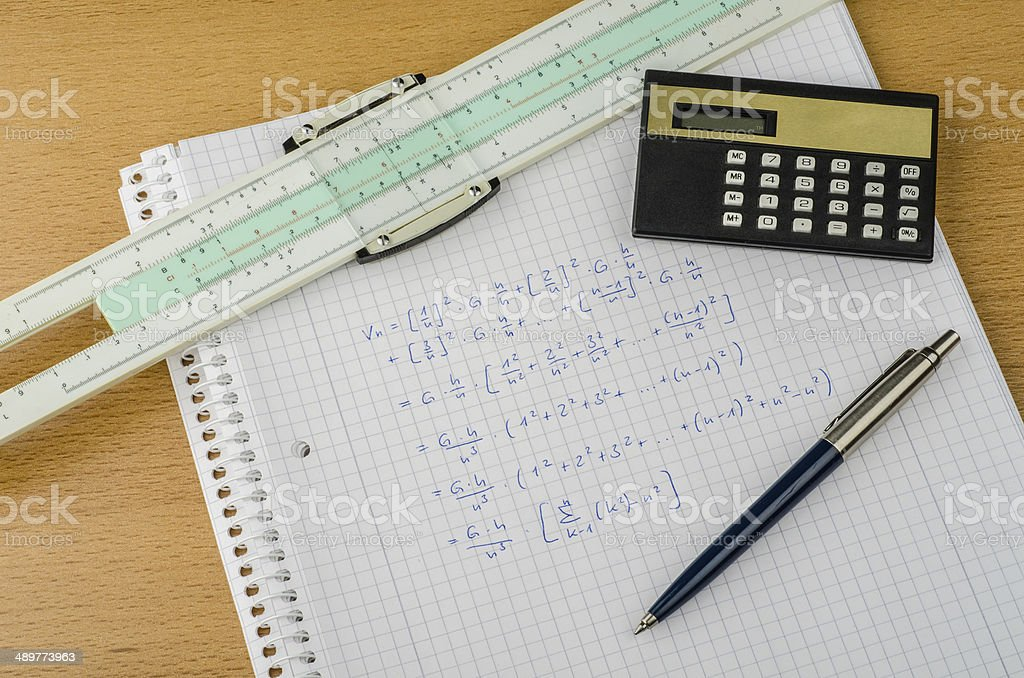 historical mathematics equipment with slideruler royalty-free stock photo