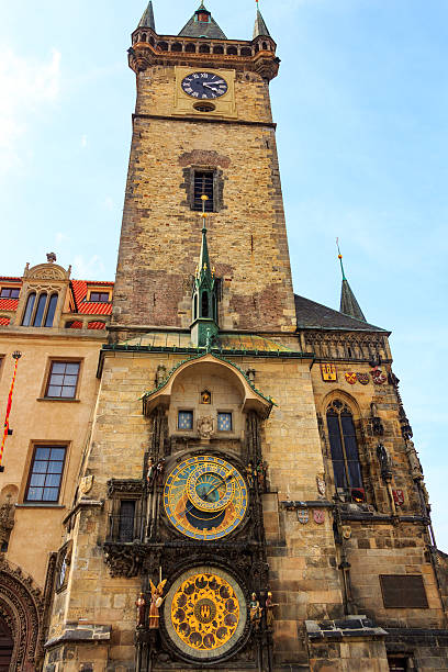 Historical medieval astronomical clock in Old Town Square Prague astronomical clock at the Old Town City Hall from 1410 is the third oldest astronomical clock in the world and the oldest one still working astronomical clock prague stock pictures, royalty-free photos & images