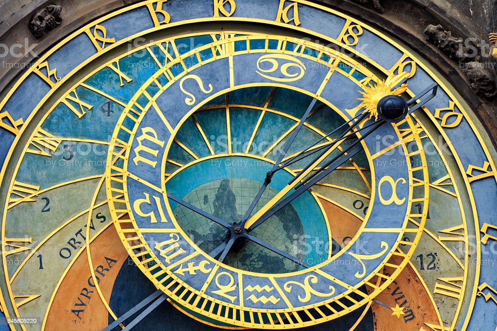 Historical medieval astronomical clock in Old Town Square stock photo