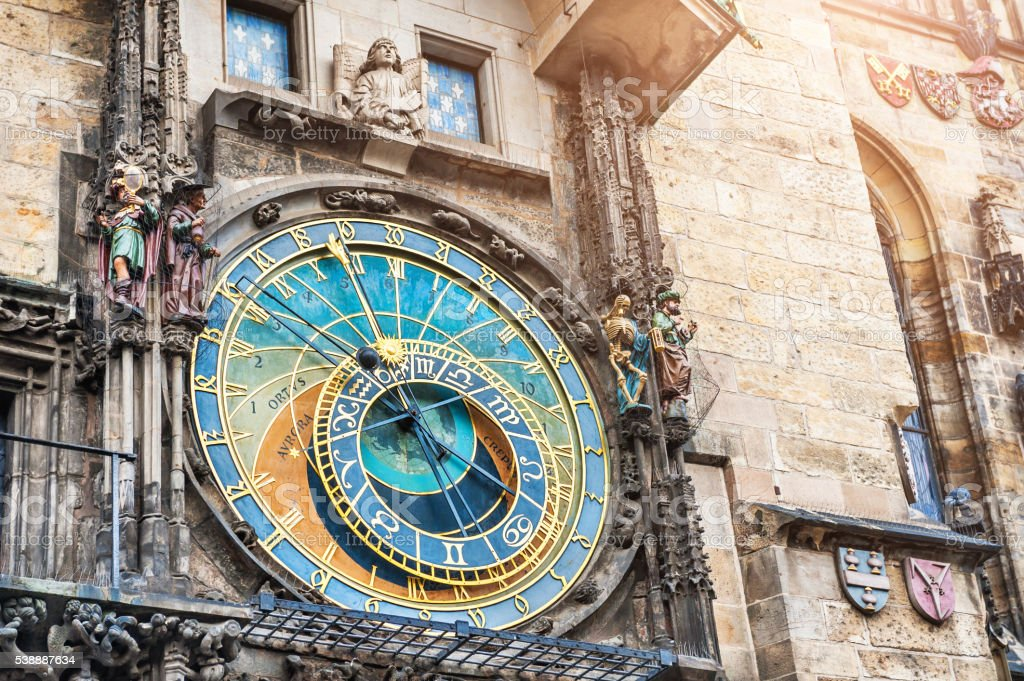 Historical medieval astronomical clock in Prague stock photo
