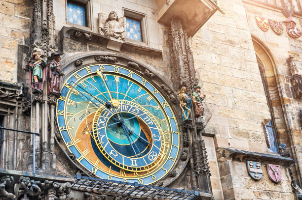Historical medieval astronomical clock in Prague Historical medieval astronomical clock in Old Town Square in Prague, Czech Republic astronomical clock prague stock pictures, royalty-free photos & images
