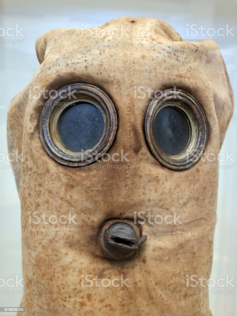Historical military chemical gas mask stock photo