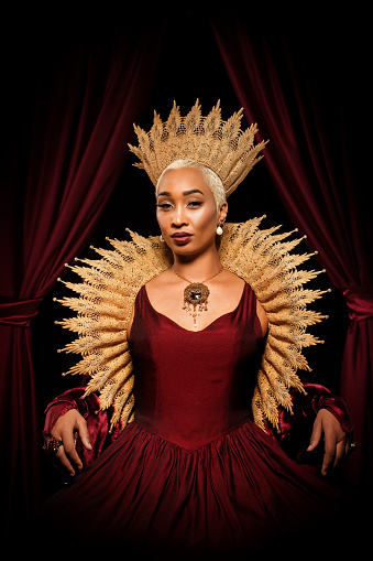 Historical mixed race Queen character on the throne