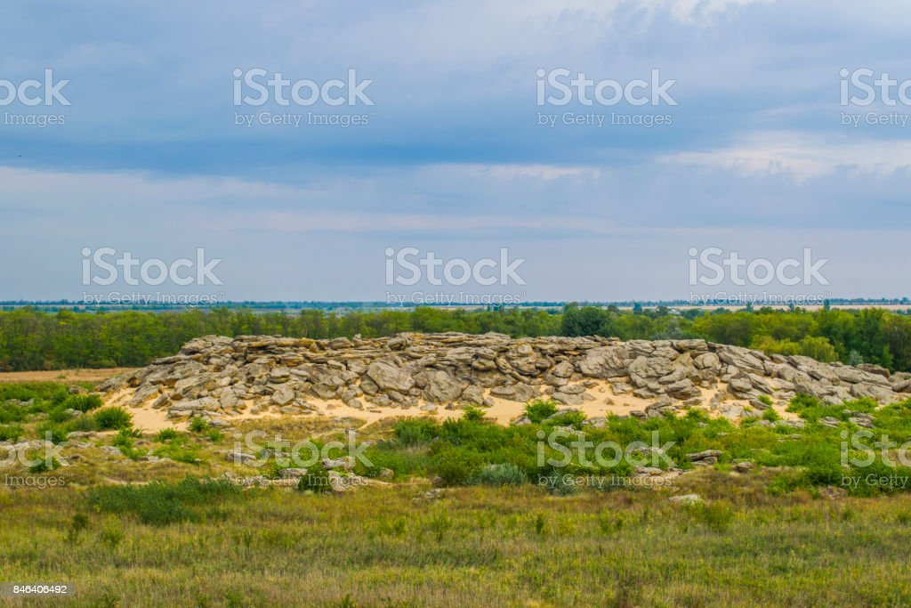 Historical monument in Zaporozhye Ukraine Stone tomb is a force place. A lot of strength stock photo