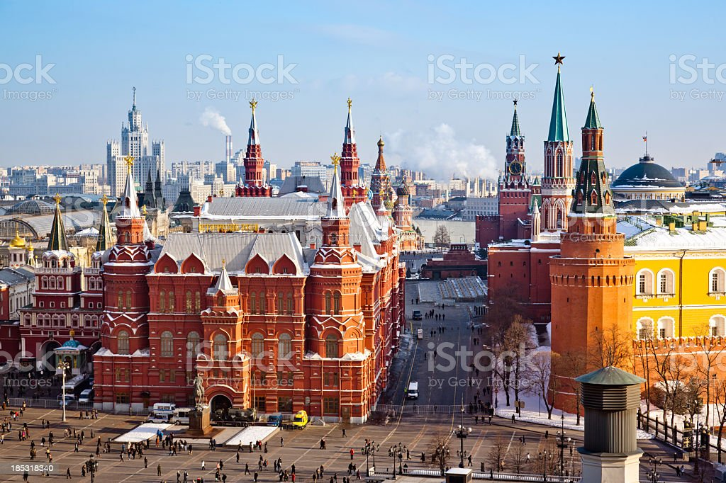 Historical Museum, Red Square and Kremlin in Moscow stock photo