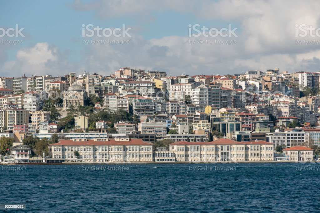 Historical old buildings of mimar sinan university and cityview at european side of karakoy istanbul turkey stock photo