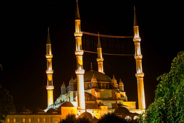 historical old famous selimiye mosque with minarets in edirne turkey historical old famous selimiye mosque with minarets in edirne turkey selimiye mosque night stock pictures, royalty-free photos & images