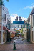 At old street in Philipsburg, St Martin - December 1, 2016 : Historical old street in St. Martin's capital Philipsburg