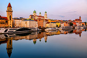 Historical Passau Old Town, Germany, in the evening. Passau is situated between Danube and Inn rivers, and is a popular river cruise destination in central Europe