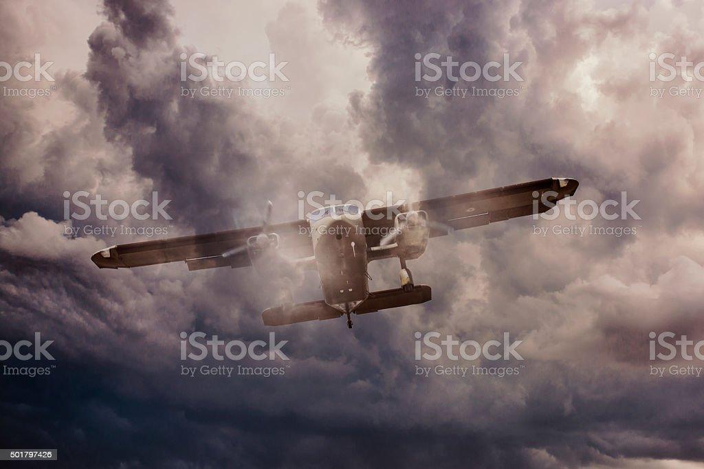 Historical Oldplane in the sky stock photo