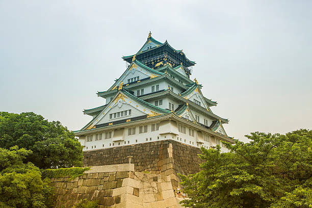 Historical osaka castle  situated at center of  park in japan stok fotoğrafı