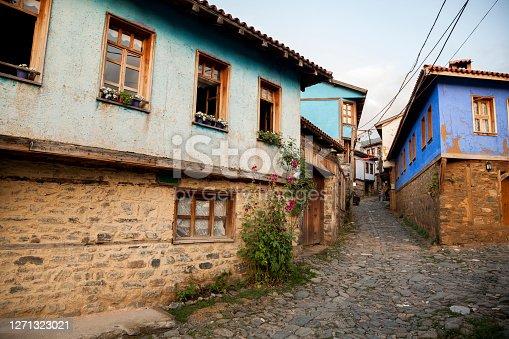 Historical cobblestone roads and Ottoman houses in Cumalikizik, Bursa - Turkey.
