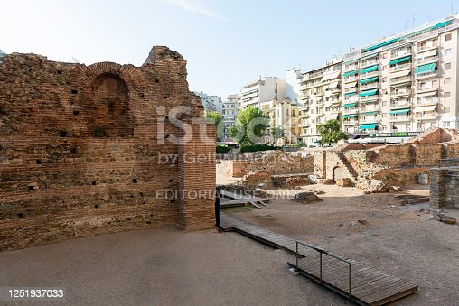 Thessaloniki, Greece - August 21, 2014: Historical Palace of Galerius ruins in Thessaloniki, Greece.