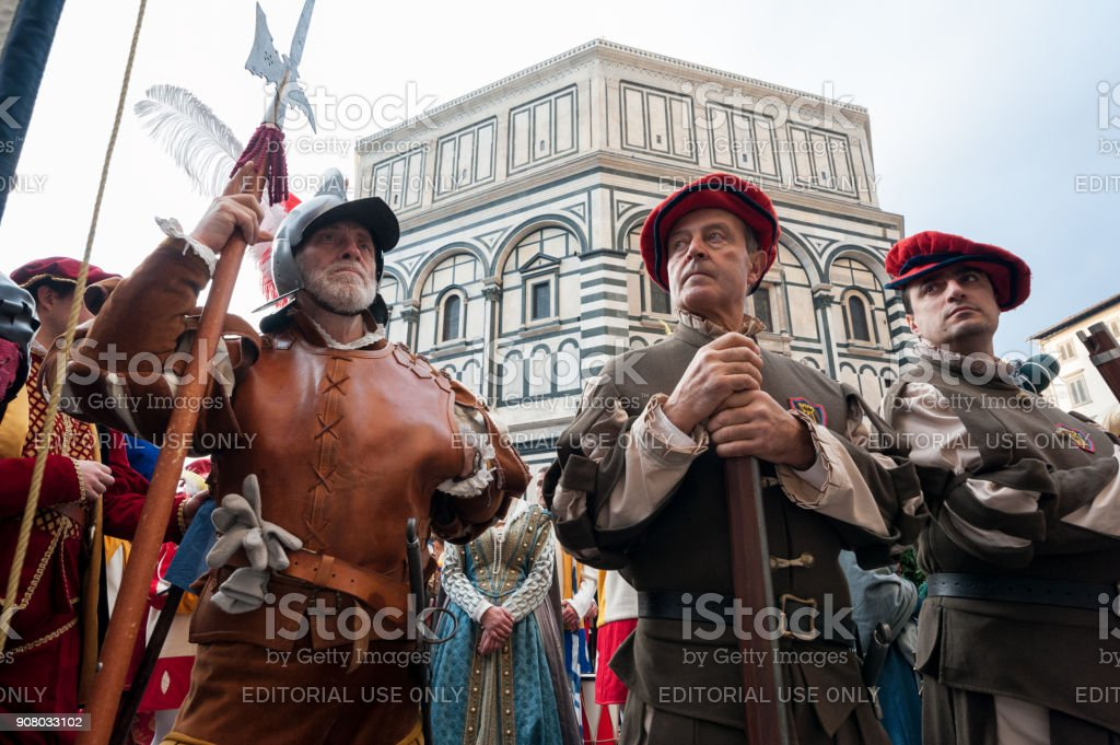 Historical parade in Florence, with extras in fleshy costumes stock photo