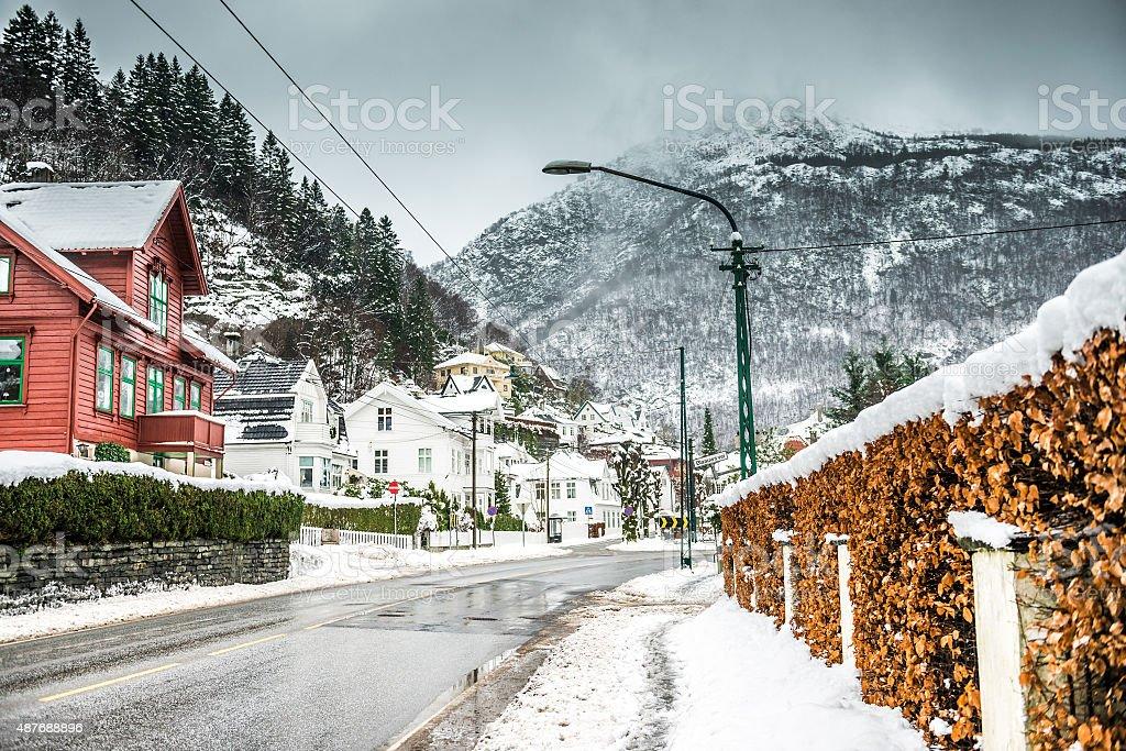 historical part of Bergen stock photo