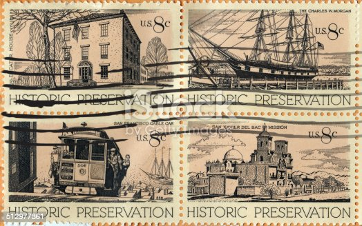 US Postal Service Historical Preservation Block of 8 cent Stamps from 1971.