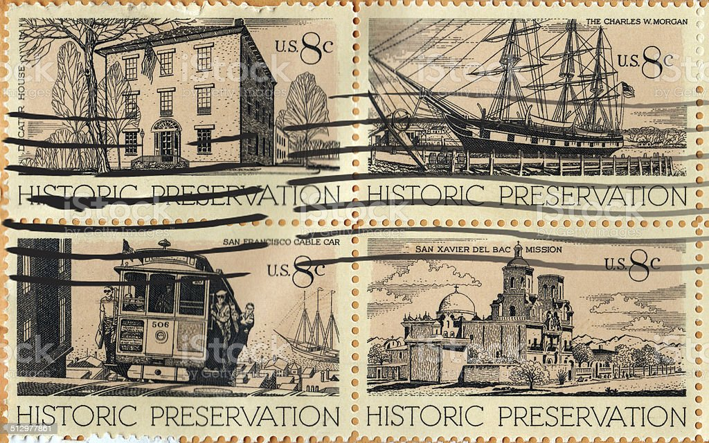 Historical Preservation Used Stamp USA 8 cents stock photo