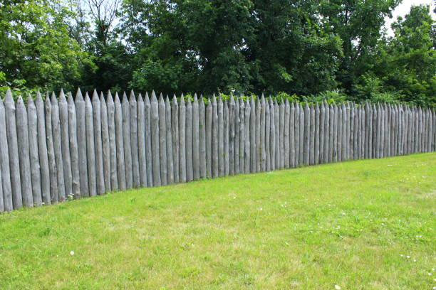 historical protecting fence from wooden logs - palisade boundary stock photos and pictures
