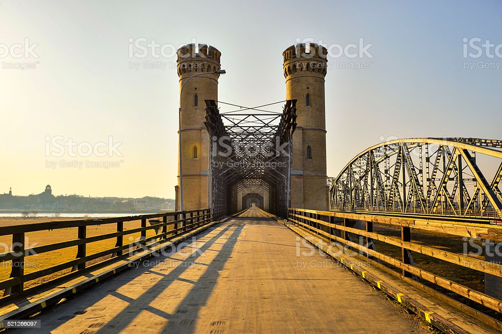 Historical railway bridge over the river Vistula, Tczew - Poland. stock photo