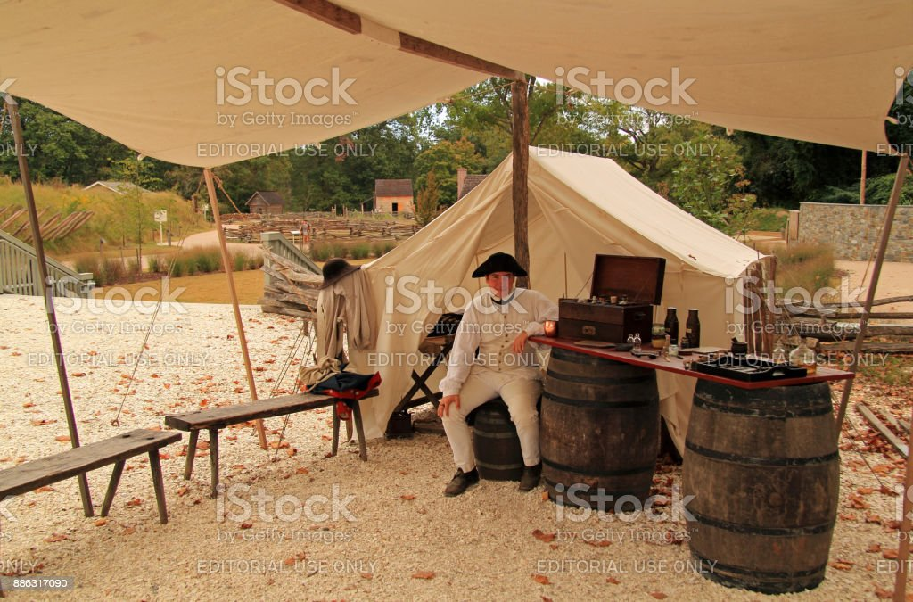 Historical Reenactor at Yorktown stock photo