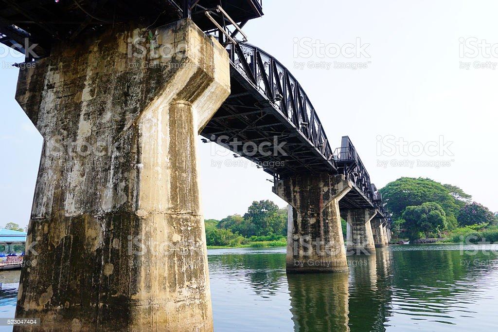 Historical River Kwai Bridge; Thailand stock photo