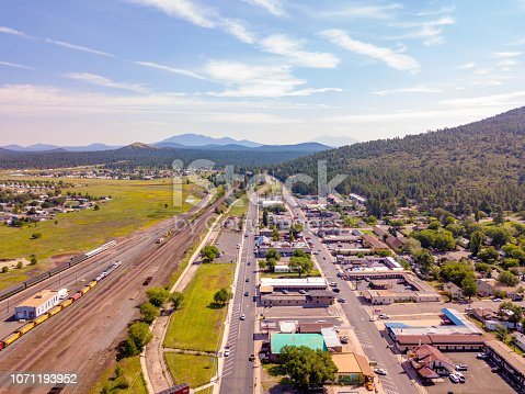 Aerial view of the historical route 66 and railway in the city of Williams in Arizona