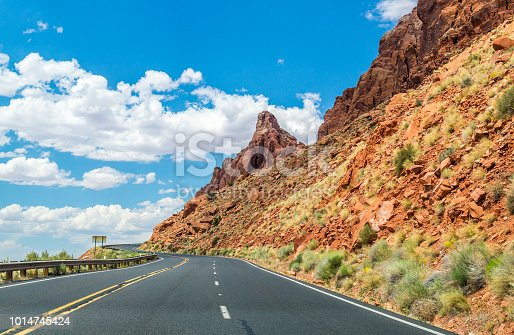 Picturesque highway in the desert southwest of the USA. Car trip in America. Legendary Highway 66. Road from Los Angeles to Chicago