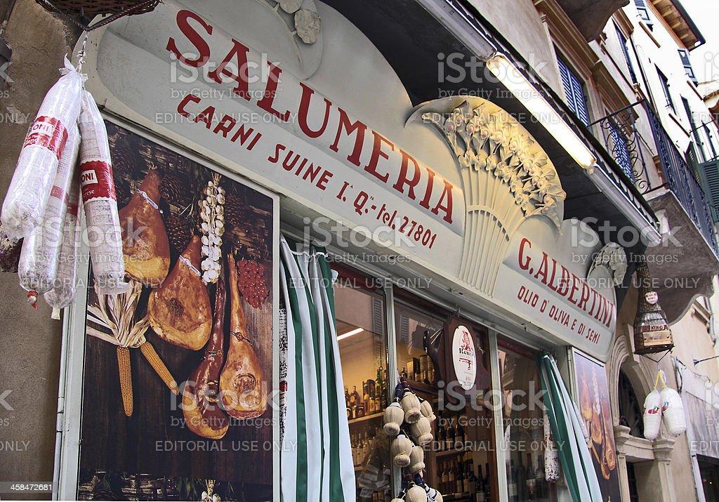 Historical Salumeria with Italian meat specialties in Verona royalty-free stock photo