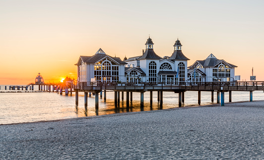Historical Sellin pier on Ruegen island at sunrise