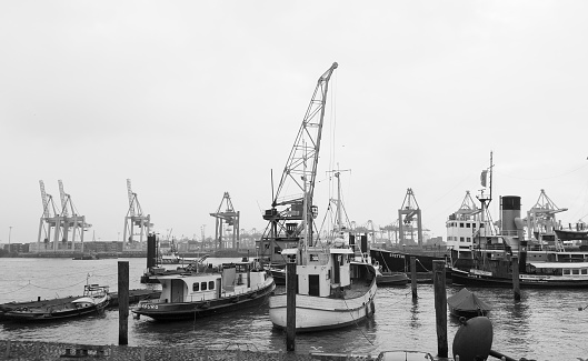 Historical Ships in the Museum Harbour Oevelgoenne, Port of Hamburg, Germany.