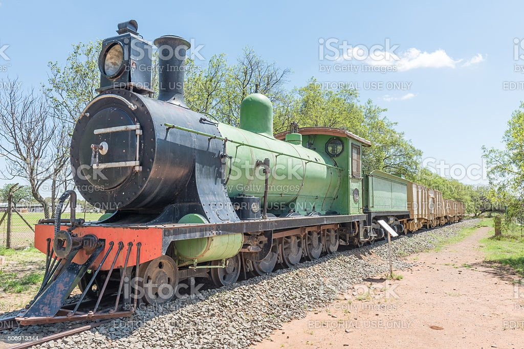 Historical steam train engine at the Womens Memorial stock photo
