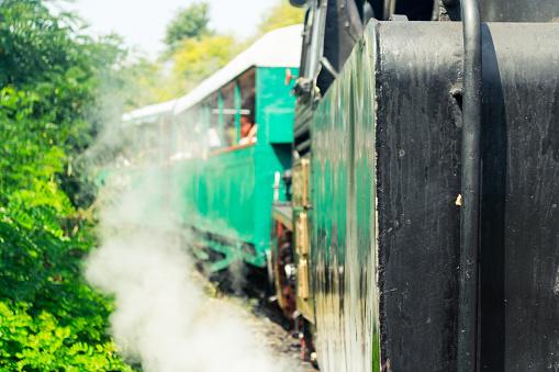 A historical narrow gauge steam locomotive in Romania.